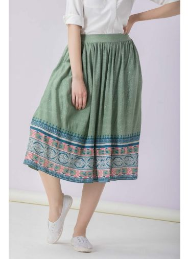 Olive Printed Skirt
