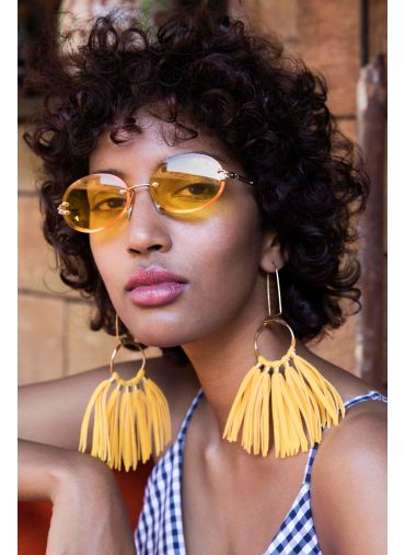Yellow Oval Sunglasses