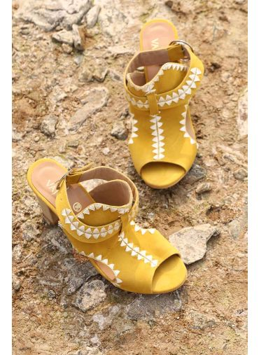 Ochre Embroidered Heels