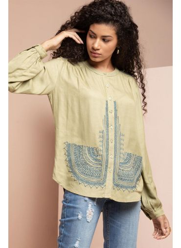 Embroidered Olive Top