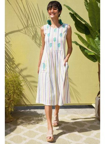 Candy Stripes Embroidered Dress