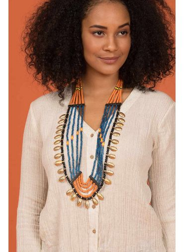 BURNT ORANGE MULTICOLOURED NECKLACE