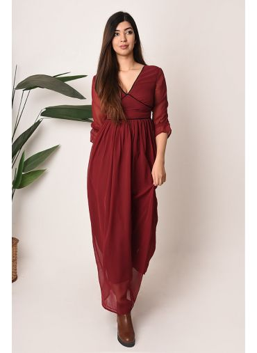 Maroon Pleated Maxi Dress