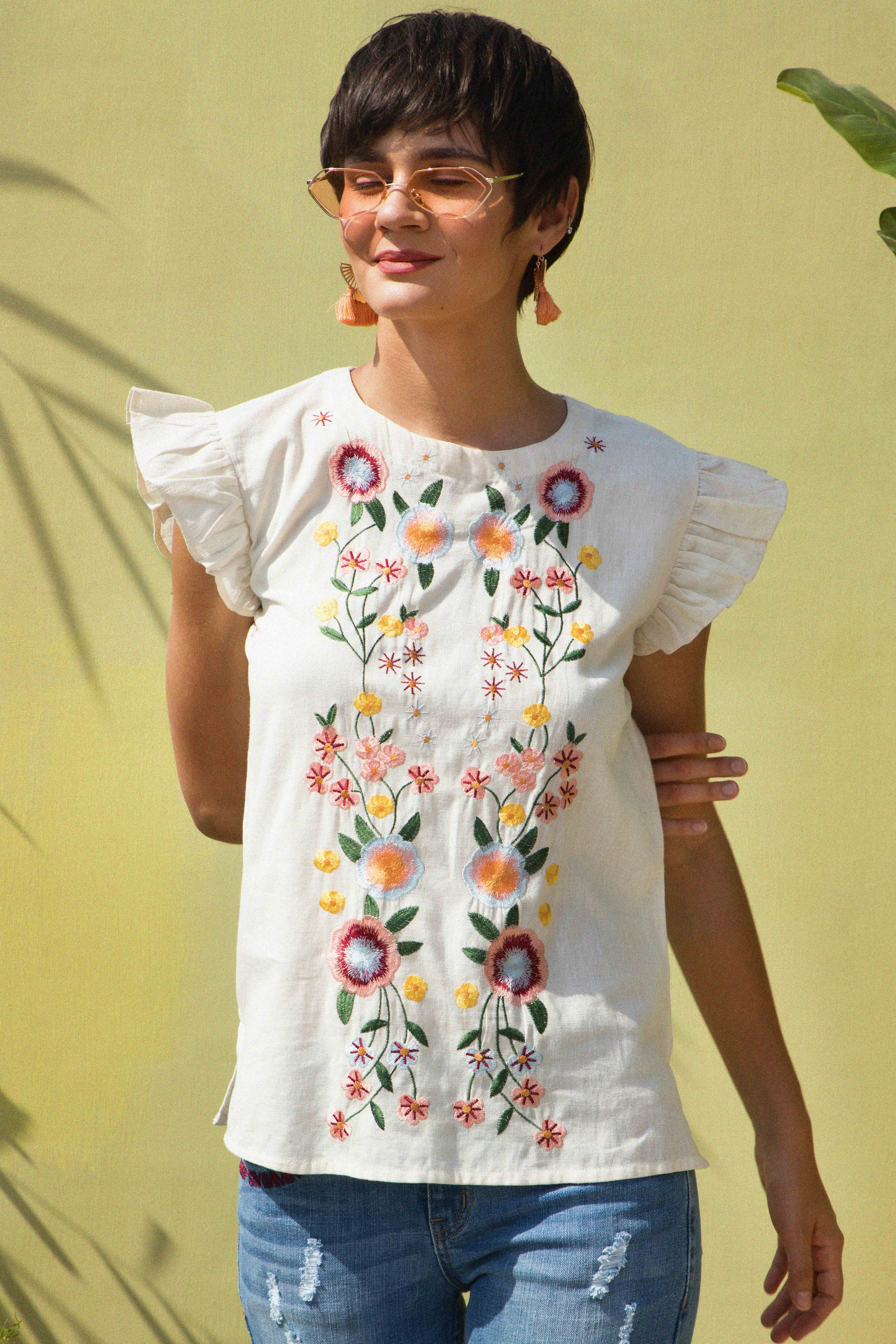 8d8c749c Buy Summer Blossom Embroidered Top , Ladies Tops Online for Women