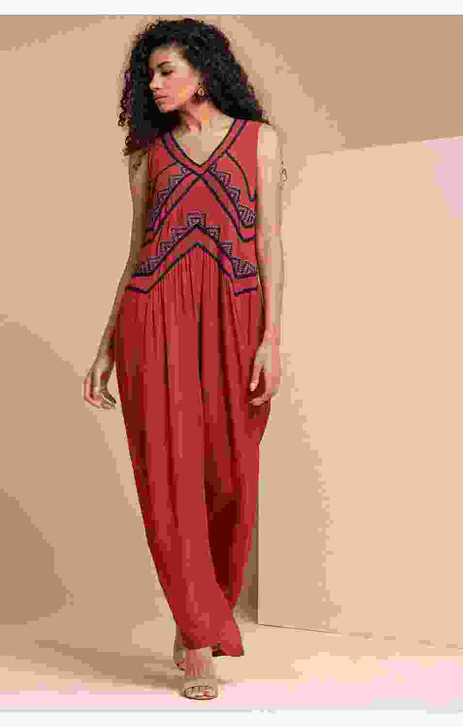 Mahogany Embriodered Jumpsuit