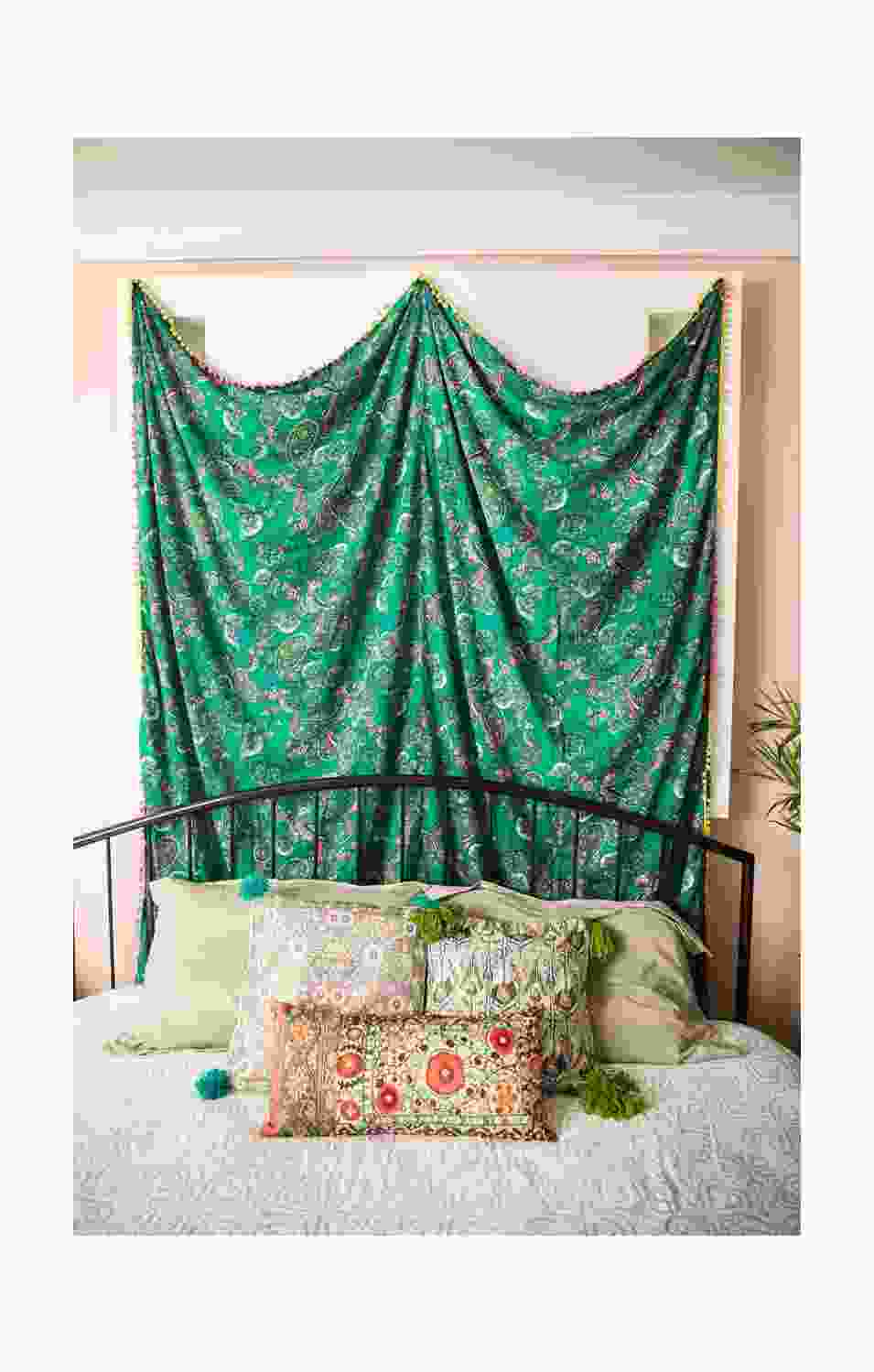 Green Peacock Tapestry