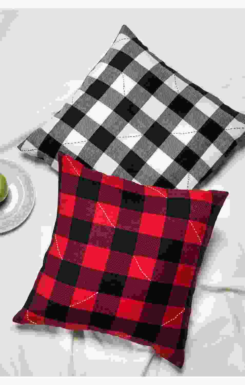 Scarlet Checkered Cushion Cover