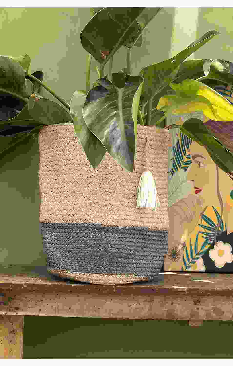 White Swing Jute Planter
